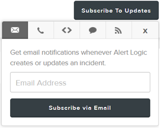 screenshot of subscribing to email updates